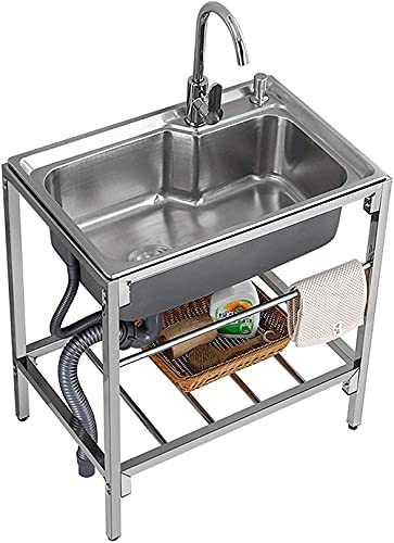QDY with Stand, Stainless Steel Sink with Hot and Cold Faucet, for Outdoor Indoor Garage Kitchen Laundry Utility Room