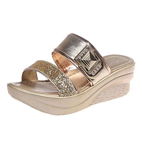 infradito gioiello sandali morbidi donna sandali donna estivi tacco scarp strass donna ciabatt estiv pantofole donna estive comode (U34-Gold,39.5)