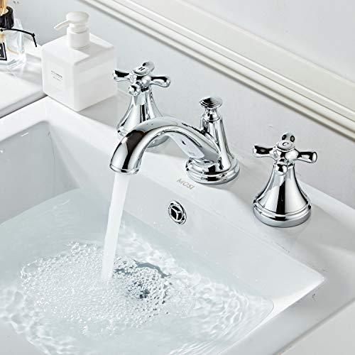 Kelelife Wasserhahn Bad, Waschbecken Mischbatterie mit Zwei Griffen DREI Löchern, poliertes Chrom