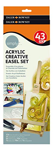 Kit Acrilico Daler Rowney Simply criativo mini cavalete 43 peças