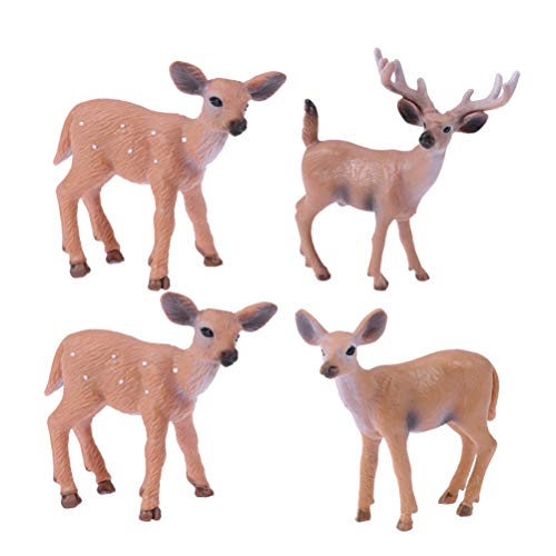 Tomaibaby 4Pcs Miniature Reindeer Figurine Christmas Fairy Garden Family Deer Figure Mini Reindeer Statue Desktop Ornament Cute Resin Toy Gift for Xmas Party Favor Birthday Cake Decoration