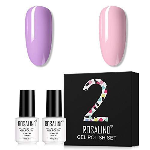 ROSALIND Smalto Semipermanente per Unghie 2pzs Rosa Set di Smalti Gel gel Semipermanente Unghie Gel Polish Manicure Nail Art Kit 7ml