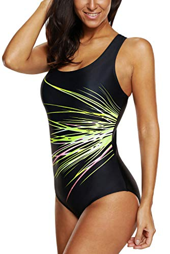 CharmLeaks Racing Bathing Suits Women Athletic One Piece Swimsuits Chlorine Proof Competitive Swimwear XL,Green