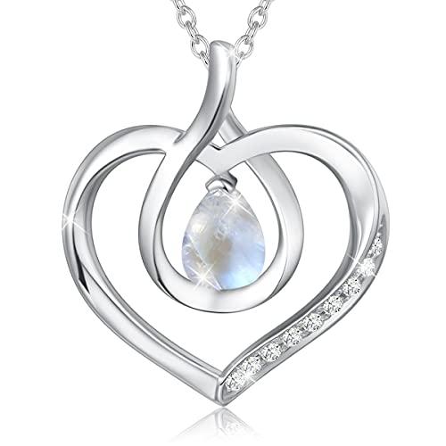 Agvana Juni Birthstone hjärta halsband för kvinnor sterlingsilver äkta månsten cz oändlighet kärlek hänge halsband smycken mors dag gåvor till mor årsdag födelsedag gåvor