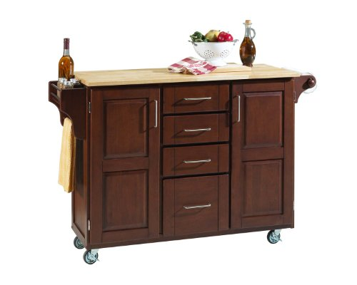 Cabinet Kitchen Cart with Natural Wood Top