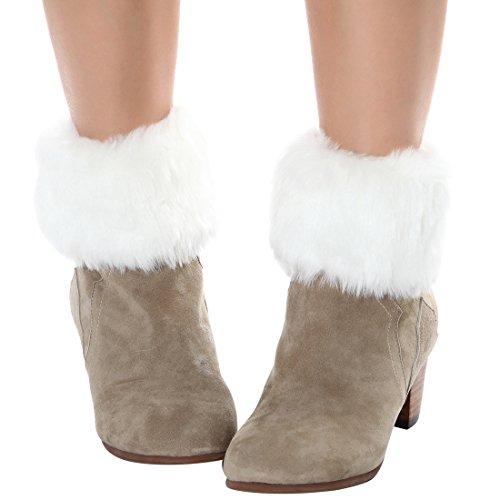 Womens Fur Trim Boot Cuff Top Cover Leg Warmers White