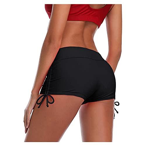 Cocila Badeshorts Damen High Raffung Bauchweg Bikinihose Knappe Mini Kurze Badehose Sommer Sexy Sportlich Strandshorts Hipster Tunnelzug Hot Pants Sporthose Yogahose Fitnesshose