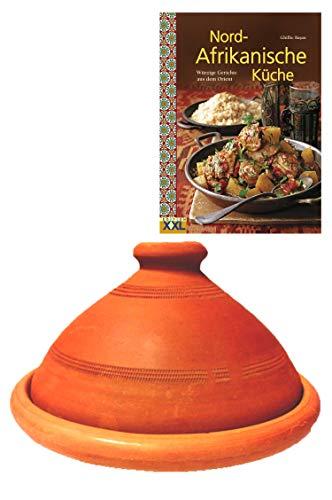 Tajine, original aus Marokko, inklusive Kochbuch Nord Afrikanische Küche, Tontopf zum Kochen, Tuareg Ø 20cm, für 1-2 Personen, handgetöpfert aus Marrakesch, frei von Schadstoffe