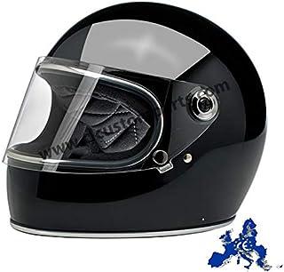 Casco Integral Gringo S biltwell Negro Brillante Gloss Black homologado Doble homologación ECE (Europa) & Dot (América) Helmet Biker Custom Vintage Retro año 70 L Negro