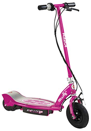 """Razor E100 Electric Scooter for Kids Ages 8 and Up - 8"""" Air-filled Front Tire, Hand-Operated Front Brake, Up to 10 mph and 40 min Continuous Ride Time"""