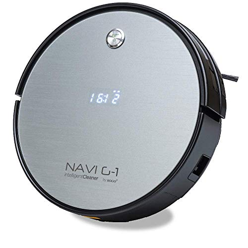 SOGO SS-16075 Robot Aspirador NAVI G-1 | Barre Aspira y Friega | Limpieza Automática | Potente y Silencioso | Para Alfombras, Mascotas, Suelos Duros | Filtro Fácil de Limpiar - Color: Gris
