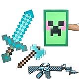 GAMINS Giocattoli Minecraft, Scudo E Spada, Set di Giocattoli con Ascia, Kit Avventura per Feste di Compleanno per Bambini, Spada Magica di Minecraft