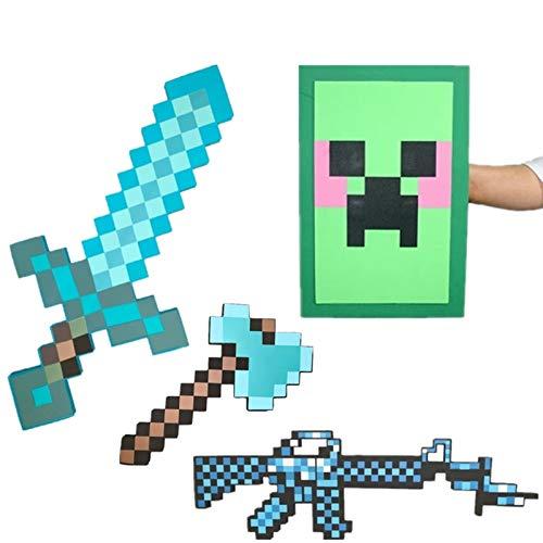 GAMINS Minecraft Spielzeug, Schild Und Schwert, Axt Spielzeug Set Kindergeburtstag Party Adventure Kit, Minecraft Magic Schwert