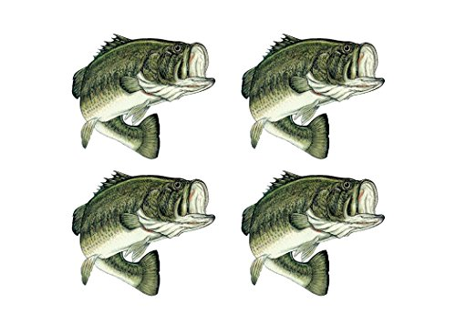 Rogue River Tactical 4X Bass Fish Sticker Decal Fishing Bumper Sticker Fish 4x4 Inch Auto Decal Car Truck Boat RV Real Life Rod Tackle Box