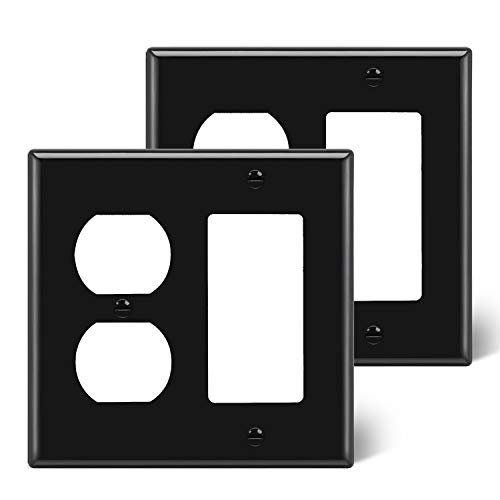 """[2 Pack] BESTTEN 2-Gang Combination Wall Plate, 1-Duplex/1-Decor, Standard Size H4.53"""" x W4.57"""" x D0.25"""", Unbreakable Polycarbonate Outlet and Switch Cover, UL Listed, Black"""