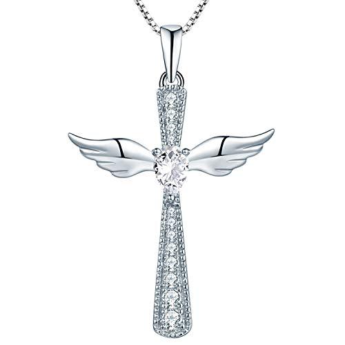 YL Damen Crucifix Kreuz Flügel Anhänger Kette 925 Sterling Silber und Zirkonia Anhänger Halskette, 45-50 cm