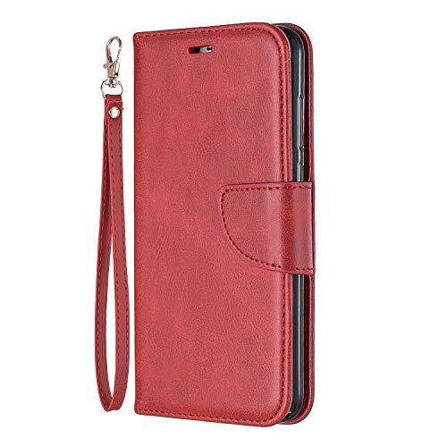 Tosim [Huawei Y6 2018 Hülle Leder, Klapphülle mit Kartenfach Brieftasche Lederhülle Stossfest Handyhülle Klappbar Case für Huawei Y6 (2018) - TOBFE150392 Rot