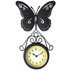 Lily's Home Monarch Butterfly Indoor Or Outdoor Hanging Garden Wall Clock, Black Wrought Iron