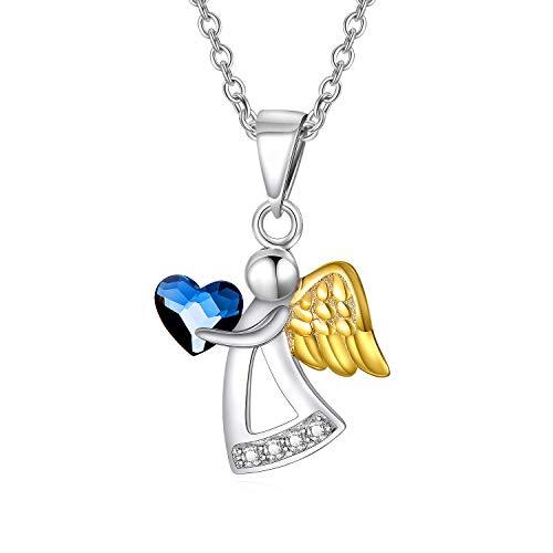 Schutzengel Kette Sterling Silber 925 Engel Anhänger Kette mit Blauen Herz Kristallen von Swarovski Geschenke für Mädchen Kinder