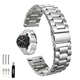 Correa de reloj de acero inoxidable para Galaxy Watch 46 mm/Gear S3 Frontier/Classic, 22 mm, pulsera de metal de repuesto para Samsung Gear S3 Watch (metal plateado),