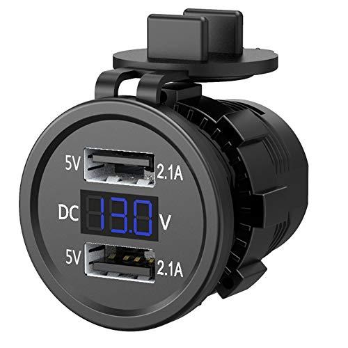 dgyl88 Dual USB-Auto-Steckdose, 12 V / 24 V LED-Spannungsanzeige, 5 V / 3A-Kfz-Ladesteckdosenadapter wasserdichte Steckdose für Auto, Motorrad, Wohnwagen, LKW(Blau)