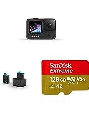 GoPro HERO9Black - Fotocamera sportiva impermeabile con schermo LCD + Caricabatteria doppio + Batteria (HERO9 Black) + SanDisk Extreme Scheda di Memoria microSDXC da 128 GB e adattatore SD