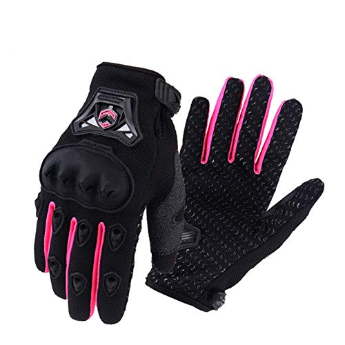 YGLONG Guantes de motocicleta para mujer, guantes de motocross para montar a caballo, guantes de moto y carreras de ciclismo (color rosa, tamaño: M)