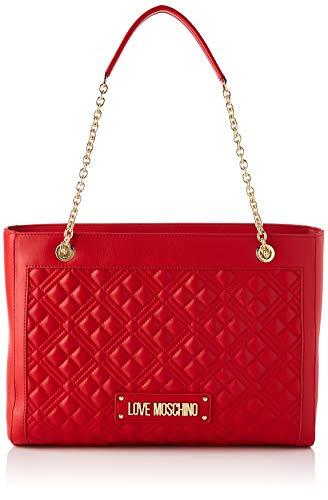 Love Moschino Precollezione ss44, Borsa Shopper da Donna PU, New Shiny Quilted, Rosso, Normal