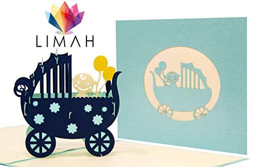 LIMAH® Pop Up Glückwunschkarte für Mädchen und Jungen zur Geburt, Baby-Karte Geburtstagskarte für Neugeborene. Mit einem 3D Kinderwagen und Baby. (türkis)