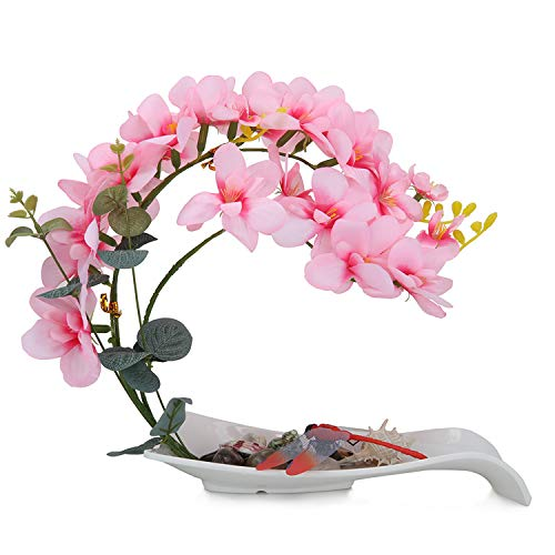 Artificial Pink Orchid Flower Fake Orchids Pink Artificial Flowers Bonsai with White Vase...