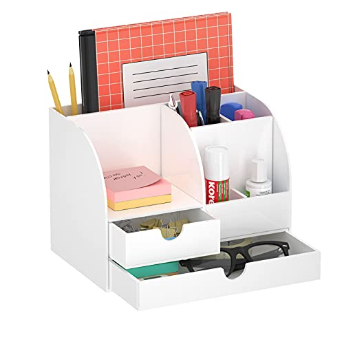 FEMELI Acrylic Desk Organizer with 2 Drawers, Clear Cute Desktop Storage for Home School Office Accessories Small Space…
