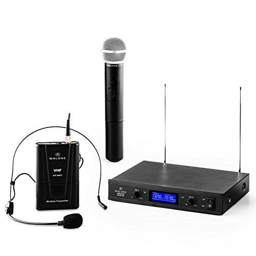 Malone VHF-400 Duo3 - Set de Microphones sans Fil 2-canaux-VHF , Micro Manuel et Casque-Micro , Emission à 50 mètres , Système Interne de réduction du Bruit , Longue durée d'utilisation , Noir