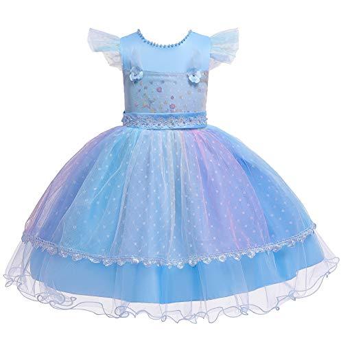 E-girl C756A - Vestido de tul para niña, vestido de princesa, para bodas, cumpleaños, etc., azul, 110 cm
