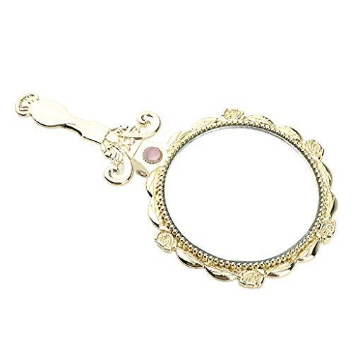 Fenteer Vintage Miroir à Main de Poignée Pliable de Table Portable Cosmétique Compact Miroir de Maquillage en Métal - d'or