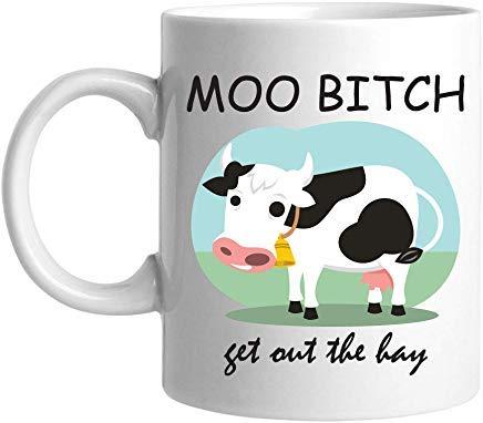 Queen54ferna Moo Bith Get Out Of The Hay 11 Ounce Wit Nieuwigheid Koffie Mokken Keramische Thee Cup 11 Oz Mok, Verjaardag Mok, Cadeaus voor Mama, voor Pa, voor Meisjes