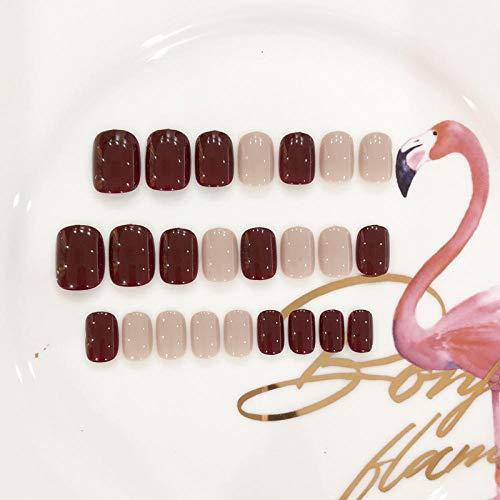 Été et automne beaux coups de couleur unie faux ongles 24 pièces français taille courte dames plein ongles conseils mignons faux ongles Japon