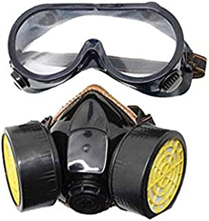 Breathable double can activated carbon gas mask with eye mask set, paint spray pesticide formaldehyde protective respirator (Photo Color)