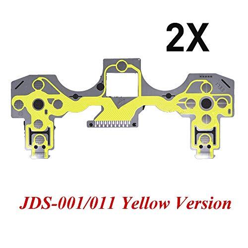 2 x Tastenband Leiterplatte Ersatz kompatibel mit PS4 Dualshock 4 Pro Slim Controller leitfähige Folie Keypad Flexkabel PCB grüne Version (JDS-001/011) Gelb