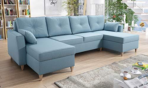 all4all Ecksofa Wohnlandschaft Garnitur Polstersofa Tosti U mit Schlaffunktion und Bettkasten Couch Sofa Eckcouch Stoff 26