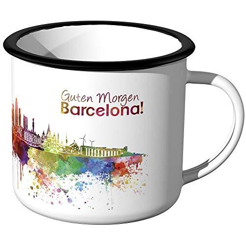 JUNIWORDS Emaille-Tasse, Guten Morgen Barcelona, Skyline Aquarell, Schwarzer Tassenrand