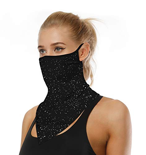 Face Mask Reusable Washable Cloth Bandanas Women Men Neck Gaiter Cover Ear Loops for Dust Starry Black