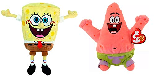 TY Beanie Babies Sponge Bob Square Pants and Patrick Star Best Day Ever, Set of 2