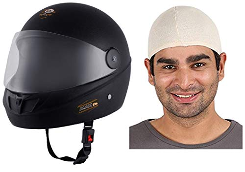 O2 Max DLX Full Face Helmet With Scratch Resistant Visor (Matte Black,M)...
