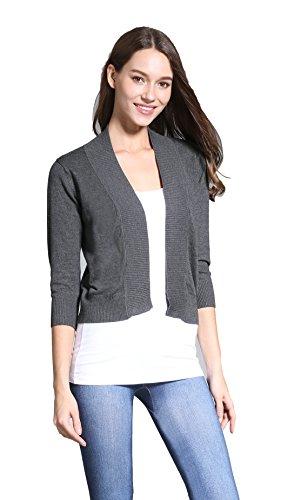 Sofishie 3/4 Sleeve Cropped Open Cardigan - Gray - Large