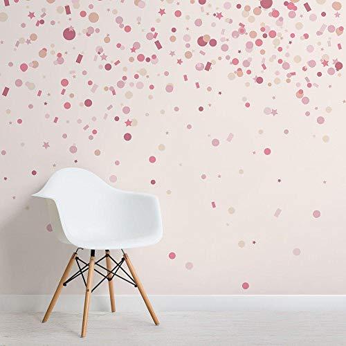 Roze Confetti Strooit Behang Mural Vierkante Muur Muren voor Slaapkamer Behang Decoratie Fresco Decor 350 x 245 cm.