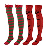 Faletony Overknee - Calcetines hasta la rodilla para mujer y niña, extra largos, para cosplay, color rojo, blanco, naranja y verde 2 pares (verde + rojo). 68/73 cm