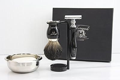 Haryali London Premium Quality Shaving Kit with Double Edge Safety Razor, Black Badger Shaving Brush, Stand and Bowl Perfect Set for Men