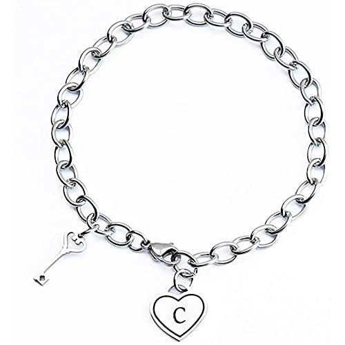 Qarunt Heartshapped Inicials Pulsera Ladies GiftsEngraved 26 Iniciales Charm Braceletsainless Steel Braceletdayday Joyería de Navidad Regalos de Las señoras