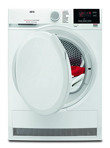 AEG T7DB60470 Wäschetrockner / 8 kg Schontrommel / effizienter Wärmepumpentrockner mit Mengenautomatik / A+ (277 kWh pro Jahr) / niedrige Trocknungstemperaturen für feine Stoffe / weiß