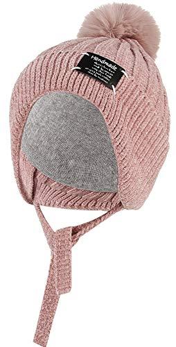 DEMU Kinder Baby Mütze Beanie Strickmütze Wintermütze Ohrenklappen mit Bommel Pink